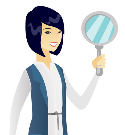 Asian cheerful business woman with a magnifier. Young smiling business woman holding a magnifier. Vector flat design illustration isolated on white background. Illustration