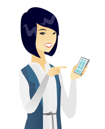 Asian business woman holding mobile phone and pointing at it. Young business woman with mobile phone. Business woman using a mobile phone. Vector flat design illustration isolated on white background.