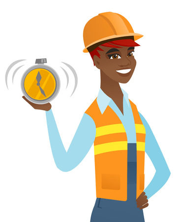 African-american builder showing ringing alarm clock. Young builder in hard hat with alarm clock. Happy builder holding alarm clock. Vector flat design illustration isolated on white background. Illustration