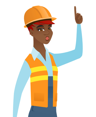 came: African-american builder with open mouth pointing finger up. Young builder with open mouth came up with successful idea. Vector flat design illustration isolated on white background.