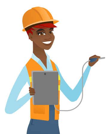 Young african electrician in hard hat measuring the voltage output. Electrician holding equipment for measuring of voltage and current. Vector flat design illustration isolated on white background. Illustration