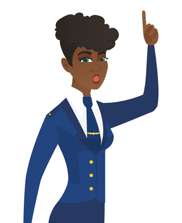 came: Arican-american stewardess with open mouth pointing finger up. Young stewardess with open mouth came up with a creative idea. Vector flat design illustration isolated on white background.