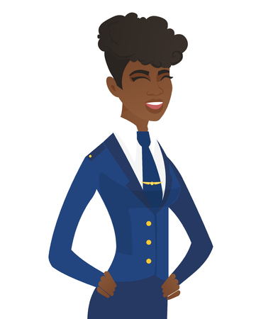 Young african stewardess laughing. Stewardess laughing with hands on her stomach. Stewardess laughing with closed eyes and open mouth. Vector flat design illustration isolated on white background