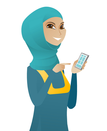 Muslim business woman holding mobile phone and pointing at it. Young business woman with mobile phone. Business woman using a mobile phone. Vector flat design illustration isolated on white background Illustration