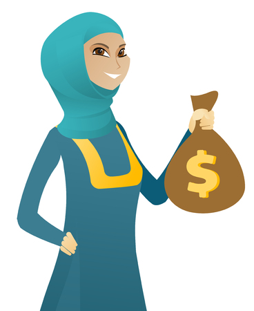 Happy muslim business woman showing a money bag with dollar sign. Young successful business woman holding a money bag. Vector flat design illustration isolated on white background.