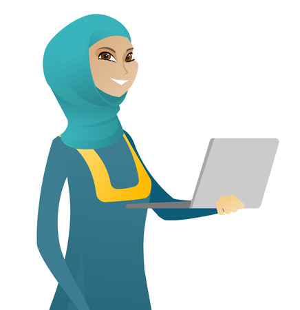 Muslim business woman using a laptop. Young smiling business woman working on a laptop. Cheerful business woman holding a laptop. Vector flat design illustration isolated on white background. Illustration