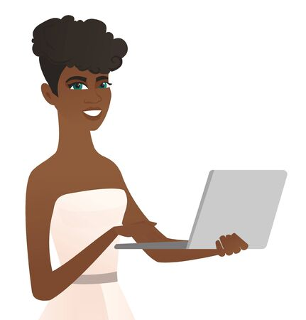 African-american cheerful bride in a white dress using a laptop. Happy bride working on a laptop. Young smiling bride holding a laptop. Vector flat design illustration isolated on white background.