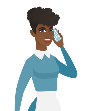 Limpiador afroamericano en uniforme hablando por un teléfono móvil. Hablando más limpio en un teléfono celular. Joven limpiador hablando por un teléfono móvil. Ilustración de diseño plano de vector aislado sobre fondo blanco.
