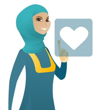 Young muslim business woman pressing web button with heart. Business woman pressing social media icon with heart. Social network concept. Vector flat design illustration isolated on white background.