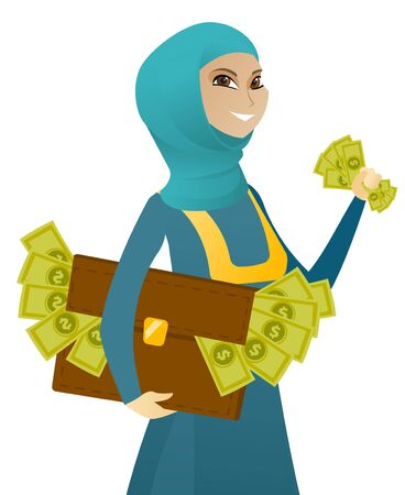 Young muslim business woman holding briefcase full of money. Business woman stealing money. Concept of economic crime, fraud, bribery. Vector flat design illustration isolated on white background.
