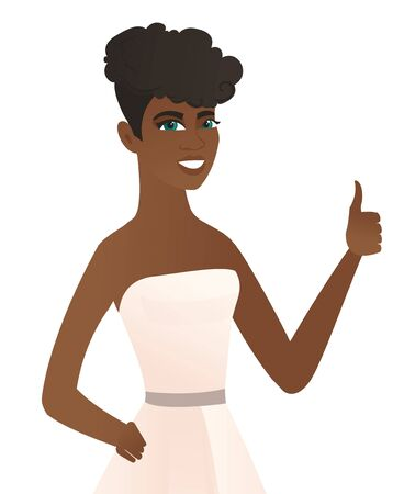 Young african-american fiancee in white dress giving thumb up. Smiling fiancee with thumb up. Cheerful fiancee showing thumb up. Vector flat design illustration isolated on white background.