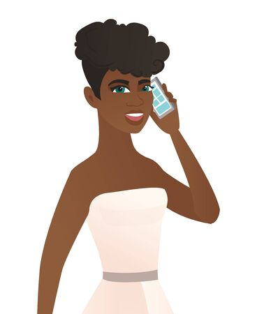 Young african-american fiancee talking on a mobile phone. Fiancee talking on a cell phone. Young fiancee talking on a mobile phone. Vector flat design illustration isolated on white background.
