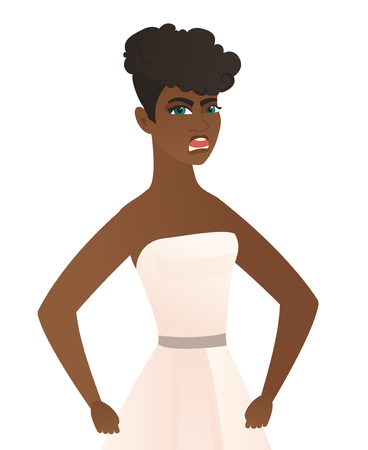 Young african-american angry fiancee screaming. Angry fiancee in a white dress clenching fists. Angry fiancee shouting with raised fists. Vector flat design illustration isolated on white background.