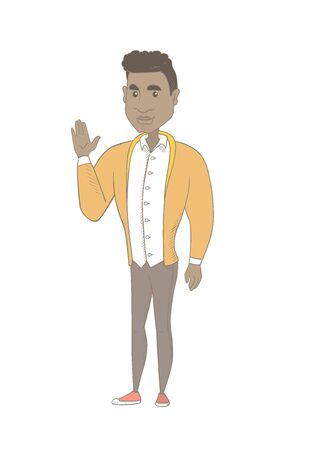 African-american man waving his hand. Full length of young man waving hand. Man making greeting gesture - waving hand. Vector sketch cartoon illustration isolated on white background.