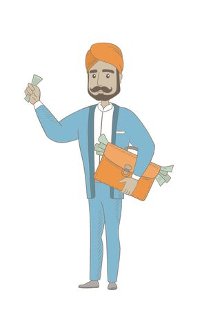 Hindu businessman with briefcase full of money. Illustration