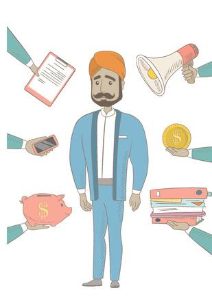 Hindu businessman having lots of work to do. Illustration