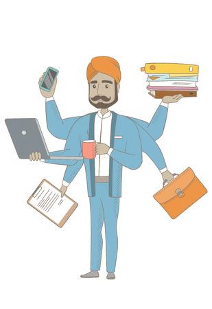 Hindu businessman coping with multitasking. Illustration