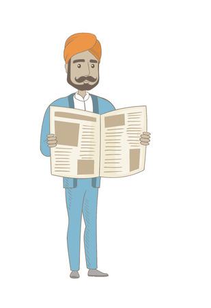 Hindu businessman reading newspaper.