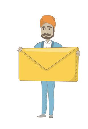 Hindu businessman holding a big envelope.