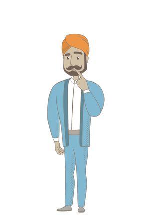 thoughtful: Hindu businessman thinking with finger on chin. Illustration