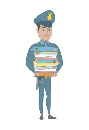 Hispanic policeman holding pile of folders and papers. Full length of young policeman with folders. Policeman with folders and files. Vector sketch cartoon illustration isolated on white background.