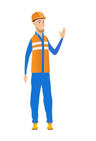 手を振ってヘルメットで若い白人ビルダー。手を振ってビルダーの完全な長さ。ビルダー挨拶ジェスチャーを作る - の手を振ってします。ベクトル
