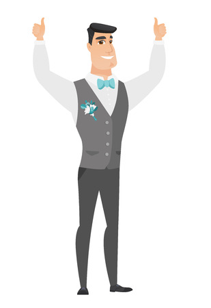 Groom standing with raised arms up.