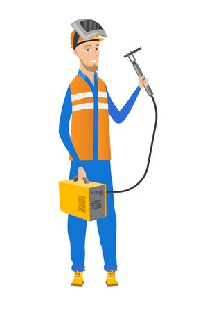 A Smiling caucasian welder in hard hat and protective mask. Full length of young cheerful welder holding gas welding machine. Vector flat design illustration isolated on white background. Illustration