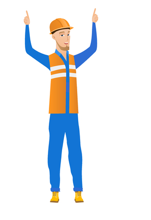Successful caucasian builder in hard hat standing with raised arms up. Full length of young happy builder celebrating with raised arms up. Vector flat design illustration isolated on white background.