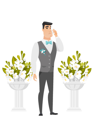 Caucasian groom crying during wedding ceremony. Illustration