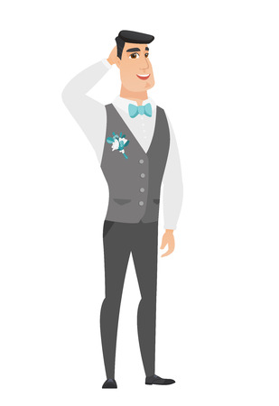 Young caucasian groom scratching his head. Full length of groom in a wedding suit touching his head. Happy groom holding hand behind head. Vector flat design illustration isolated on white background. Illustration
