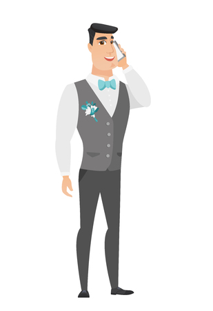 Groom talking on a mobile phone. Illustration