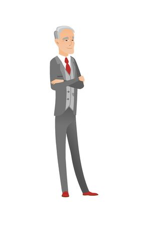 arms folded: Caucasian confident businessman with folded arms. Illustration
