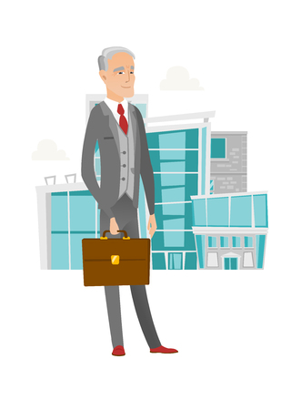 Senior caucasian businessman holding briefcase.