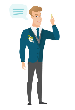 Young caucasian groom with speech bubble.