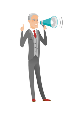 Caucasian businessman with loudspeaker making an announcement. Senior businessman making an announcement through a loudspeaker. Vector flat design cartoon illustration isolated on white background.