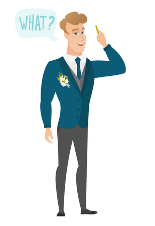 Groom with question what in speech bubble.
