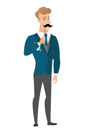 Cheerful groom with a fake mustache.  イラスト・ベクター素材