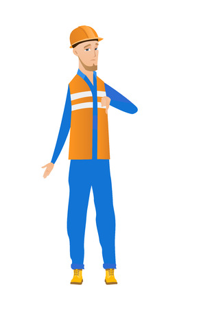 Disappointed caucasian builder with thumb down. Full length of young upset builder in hard hat showing thumb down. Vector flat design illustration isolated on white background.