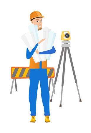 arquitecto caricatura: Ingeniero joven de pie con planos en el sitio de construcción. Ingeniero sosteniendo el modelo en el fondo de la barrera vial y el teodolito. Vector ilustración de diseño plano aislado sobre fondo blanco. Vectores