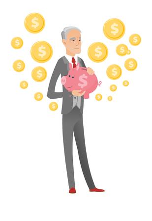 Senior caucasian businessman holding a piggy bank.