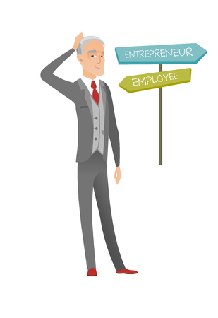 Confused caucasian man choosing career pathway. Illustration