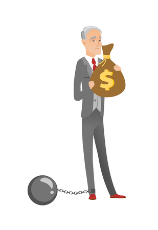 Caucasian businessman with bag full of taxes.