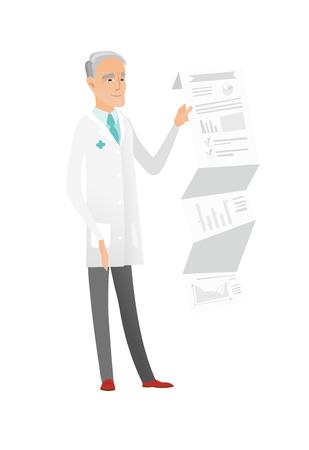 Senior doctor in medical gown giving presentation. Illustration