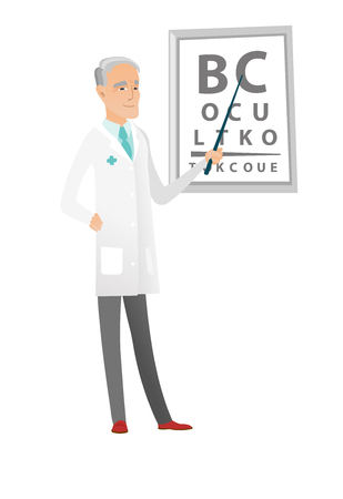 Caucasian ophthalmologist holding eyeglasses. Illustration