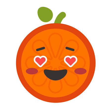 Emoji - orange in love with happy smile. Isolated vector.