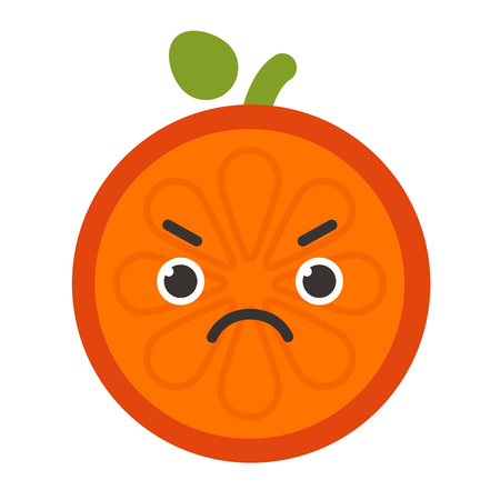 Emoji - angry orange. Isolated vector.