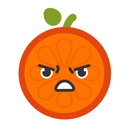 diabolic: Emoji - furious orange. Isolated vector.