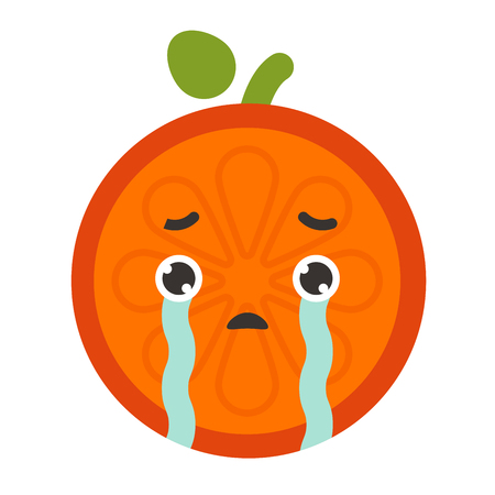 Emoji - tears crying orange. Isolated vector. Illustration