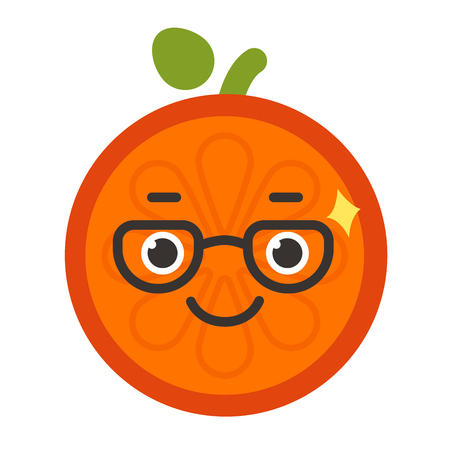 Emoji - smart smiling orange with glasses. Isolated vector. Illustration